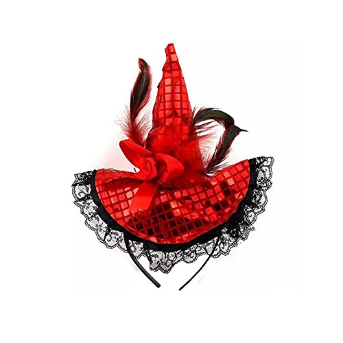 Red Head Halloween Costumes (Festivous Wishel Halloween Witch Hat Headband with Lace- Halloween Costume (Red))