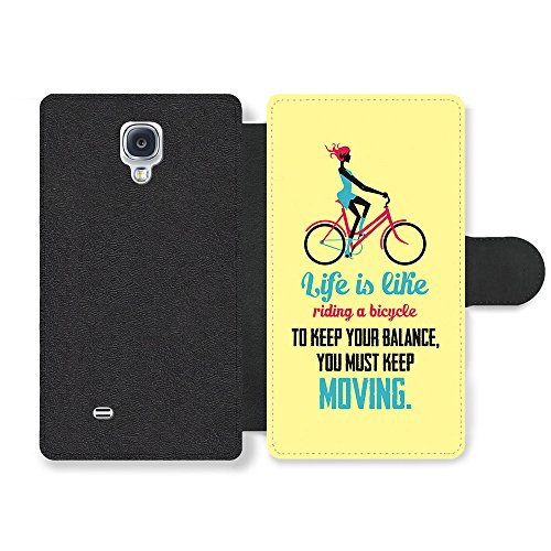 a Bicycle Albert Einstein Life & Love Inspirational Quote Faux Leather case for Samsung Galaxy S4 ()