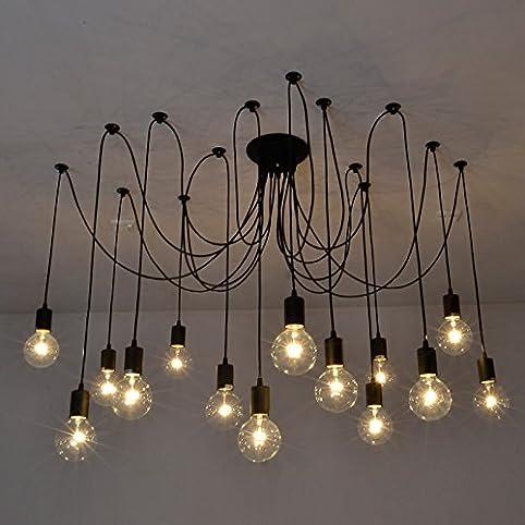 Fuloon Vintage Edison Multiple Ajustable DIY Ceiling Spider Lamp ...
