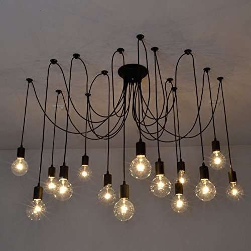 chic lighting fixtures. Fuloon Vintage Edison Multiple Ajustable DIY Ceiling Spider Lamp Light Pendant Lighting Chandelier Modern Chic Industrial Dining With Romote Control (14 Fixtures