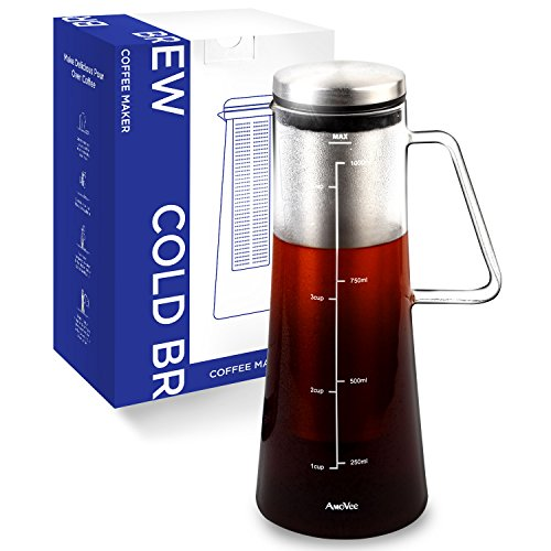 Cold Brew Coffee Maker AmoVee 1L (34oz) Airtigh...