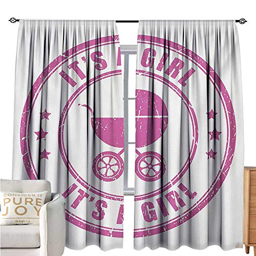 bybyhome Gender RevealPolyester curtainGrunge Its A Girl Retro Stamp with Baby Carriage Artistic Newborn Icon ImageDrapes for Living Room W72 xL108 Fuchsia