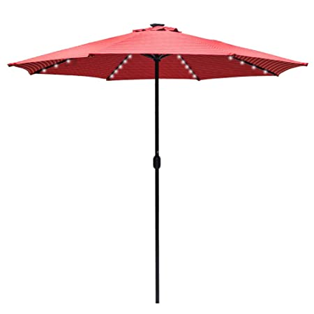 Sundale Outdoor 10 Ft Sunbrella Canopy Solar Powered 72 LED Lighted Patio Market Umbrella Garden Outdoor Aluminum Umbrella with Crank, Harwood Crimson