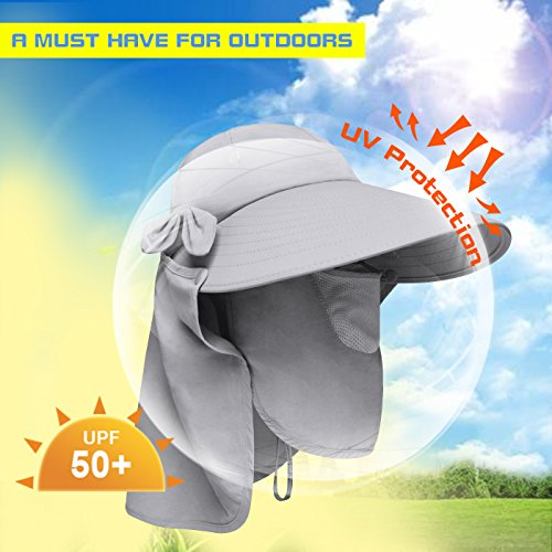 423be2ef8ec Lenikis Women s UPF+50 Sun Visor Detachable Flap Hat Foldable Wide Brimmed  UV Protection Hat