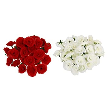Sharplace White Red Rose Heads Silk Flower Wedding Reception Table
