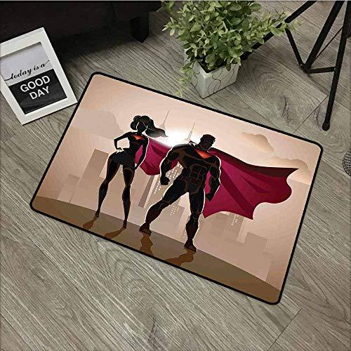 LOVEEO Non Slip Doormat,Superhero Super Woman and Man Heroes in City Solving Crime Hot Couple in Costume,for Outdoor and Indoor,35