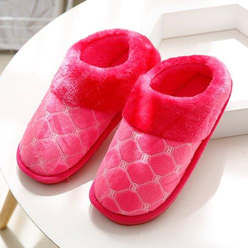 Fankou Autunno e Inverno moda pantofole di cotone femmina maschio spessa soggiorno caldo piano anti-slip piscina ,39-40, rosso chiaro