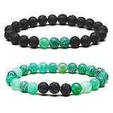 Jenbert 2Pcs Bracelets Set Essential Oil Diffuser Bracelet Agate Beads Friendship Bracelets Lava Stone Bracelet Couples