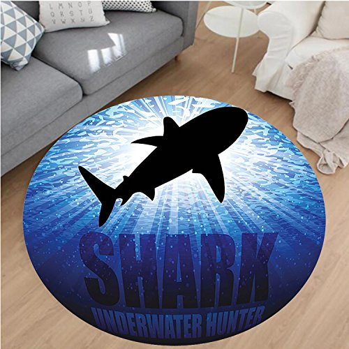 Nalahome Modern Flannel Microfiber Non-Slip Machine Washable Round Area Rug-ater Hunter Phrase Fish Silhouette in The Ocean Danger in Marine Picture Royal Blue Black Area Rugs Home Decor-Round 40