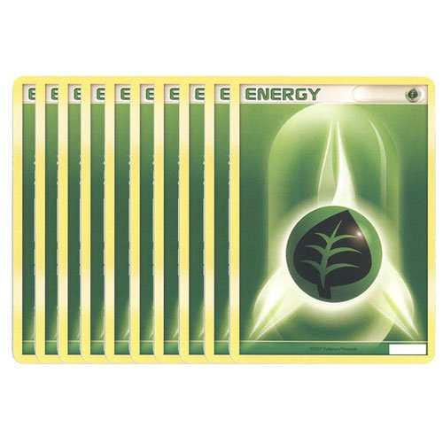 Pokemon Cards - LOT of 10 Grass Energy Cards (Green)