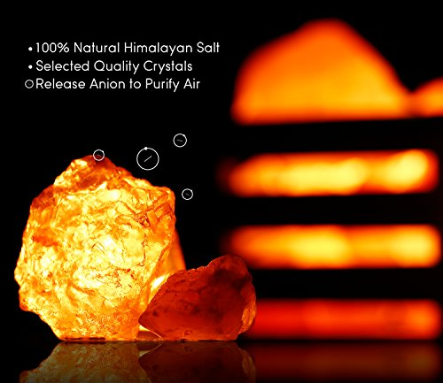 Dimmable Himalayan Crystal Salt Lamp with Wooden Basket, UL-Listed Power Line & Socket, Amber Glow for Ambiance Lighting, Decoration, Yoga, Purifying Air, 4.3x3.94x4.1inch (2 Bulbs Included) by TORCHSTAR (Image #3)