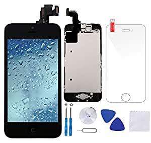 Coobetter Full Assembly Replacement Screen for iPhone 5C Black LCD Display Touch Screen Digitizer with Front Camera + Ear Speaker + Facing Proximity Sensor + Repair Tools