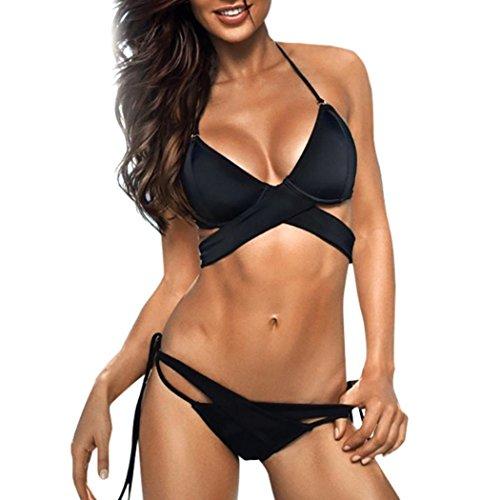 Reggiseno Da Jimmackey Banda Sexy Bagno Up Bikini Set Nero Donna Halter Costume Imbottito Push Avqng8vw