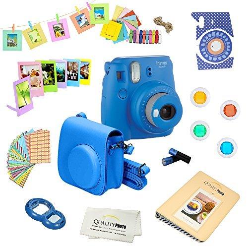Fujifilm Instax Mini 9 Camera + 14 PC Instax Accessories kit Bundle, Includes; Instax Case + Album + Frames & Stickers + Lens Filters + MORE (Cobalt Blue)