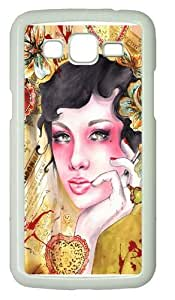 Beauty portrait 2 PC Case Cover for Samsung Grand 2 and Samsung Grand 7106 White