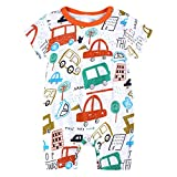 Toddler Newborns Girls Boys Cute Cartoon Floral Print BabySuits Outfits Short Sleeve Sleepwear RomperJumpsuits (Orange, 6-9 M)