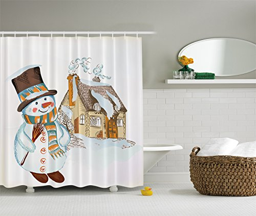 Vintage Frosty The Snowman Holiday Christmas Shower Curtain