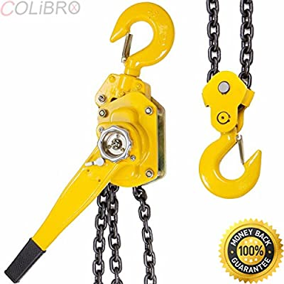 COLIBROX--3/4 Ton Lever Block Chain Hoist Ratchet Type Come Along Puller 20FT Chain Lifter. 3 ton chain come along. chain come along harbor freight. best chain come along home depot amazon.