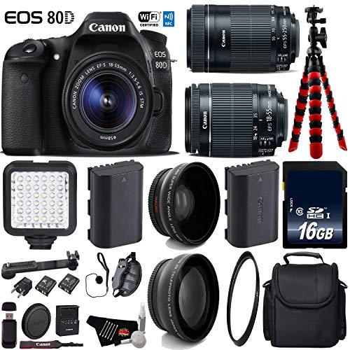 Canon EOS 80D DSLR Camera with 18-55mm is STM Lens & 55-250mm is STM Lens + LED + UV FLD CPL Filter Kit + Wide Angle & Telephoto Lens + Camera Case + Tripod + Card Reader - International Version -  6Ave