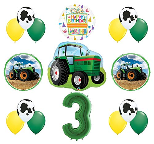 Mayflower Products 3rd Birthday Farm Tractor Balloon Bouquet Decorations and Party Supplies for $<!--$19.99-->