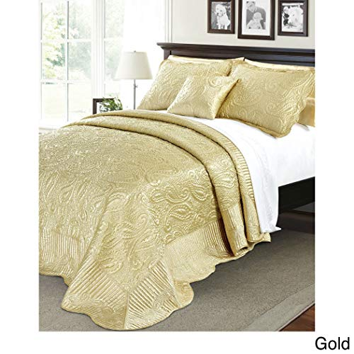 4 Piece 120 x 120 Oversized Golden Yellow King Bedspread To The Floor, Extra Long Paisley Bedding Xtra Wide Drops Over Edge Frame, Drapes Down Sides Hangs Over Bed Touches Flooring, Quilted Polyester