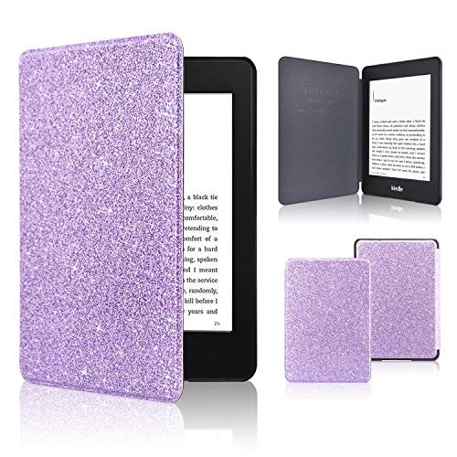 Kindle Paperwhite Case 2018, ACdream The Thinnest and Lightest Leather Smart Cover Case for 2018 New Kindle Paperwhite (Only Fit 2018 Kindle Paperwhite 10th Generation), Purple Glitter