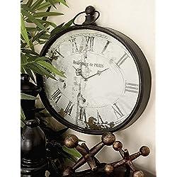 Rustic Farm Home Oval Metal Wall Clock Paris Vintage Antique French Unique Decor