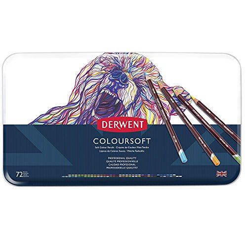 Derwent Coloured Pencils, Coloursoft Pencils, Drawing, Art, Metal Tin, 72 Count (0701029) by Derwent