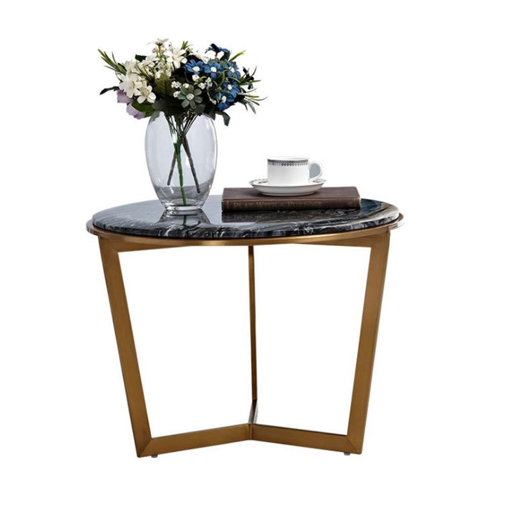 ZR- サイドテーブル、ステンレス製の金属製のリビングルームバルコニー小さなコーヒーテーブル、黒と白の大理石の卓上ラウンドテーブル B07L12PS97