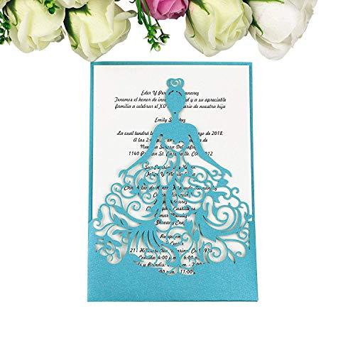 PONATIA 25PCS Lacer Cut Wedding Invitations Card Hollow Bride Invitations Cards for Wedding Bridal Invitation Engagement Invitations Cards (Sapphire ()