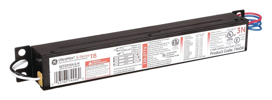 GE332-MAX-L//ULTRA GE LIGHTING Electronic Ballast,T8 Lamps,120//277V