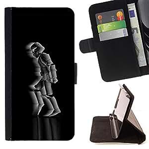 BullDog Case - FOR/HTC One M8 / - / Moon Walking Soldier /- Monedero de cuero de la PU Llevar cubierta de la caja con el ID Credit Card Slots Flip funda de cuer