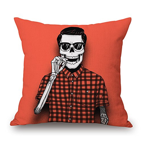 Slimmingpiggy Comfortable Bedding A Handsome Skeleton Man With Dark Glasses And An Orange Grid Shirt 16X16 Inch Pillow
