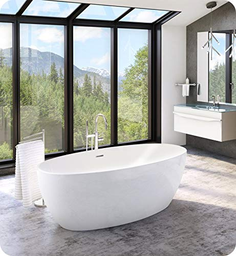 Fleurco BVO6732-18 Aria Voce 67 High Gloss Acrylic Bathtub with Drain and Overflow