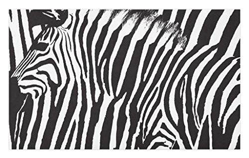 Lunarable Zebra Print Doormat, Wild Zebra Design with Animal Profile Blended Over Itself Abstract Pattern, Decorative Polyester Floor Mat with Non-Skid Backing, 30 W X 18 L Inches, White ()