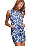 Floerns Womens' Pocket Sleeveless Tribal Print Bodycon Dress Blue L