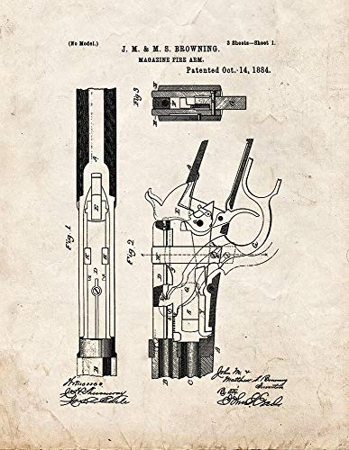 (Winchester 1886 and Model 71 Lever Action Rifles Patent Print Old Look (8.5