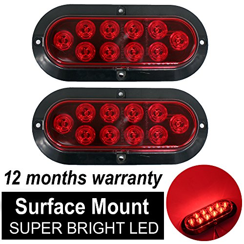 10 LED Surface Mount Oval Red Stop Brake Marker Tail LED Light, for Truck Trailer Trail Bus 12V DC ()