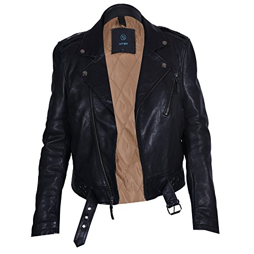 Leather Jacket Women, 100% Lambskin Black Leather Jacket, Leather Biker / Motorcycle Jacket Women, Regular Fit Womens Leather J (Black)-Medium