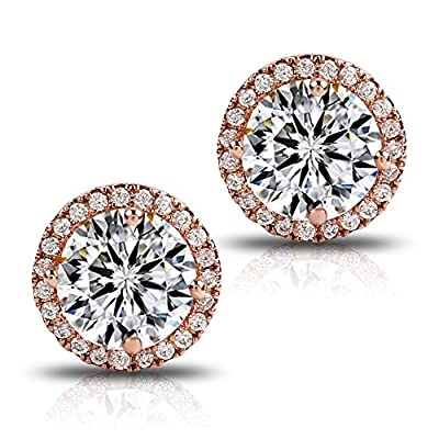 18K Rose Gold-Plated Cluster Round Cut Stud Earrings (1.66cttw) by Sally Ornament Co. Ltd.