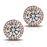Image of 18K Rose Gold-Plated Cluster Round Cut Stud Earrings (1.66cttw)