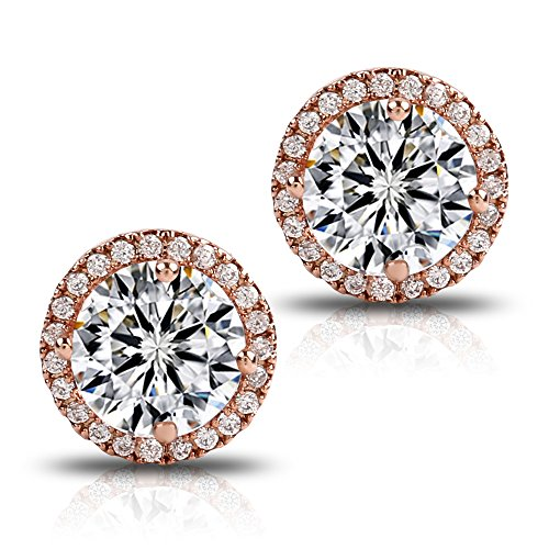 Gold Womens Earring (18K Rose Gold-Plated Cluster Round Cut Stud Earrings (1.66cttw))