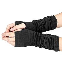 Long Fingerless Gloves - SODIAL(R)Men Women Unisex Knitted Fingerless Gloves Soft Warm Long Mitten warm Winter, Black