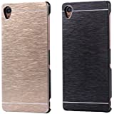 For Sony Z1 Case, 2PCS FLOVEME [Slim Fit] [Anti Scratch] Premium Ultra Thin Metal Aluminum Brush Finish Shock Absorbing Back Protection Cover for Sony Xperia Z1 - Gold + Black