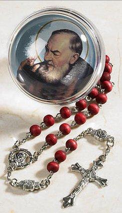 (Rose Petal Holy Rosary St Pio Devotional Saint Bracelet Cord Rosary + 1 Holy Card St.Jude)
