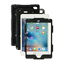 iPad Mini 4 Case, Aceguarder® [Heavy Duty] Apple iPad Mini 4 Case Full-body Protective Case Cover with Screen Protector Proof Shockproof Drops Protection Soft Silicone case with stand for Kids Outdoor Adventure Sports Gifts for Apple iPad Mini 4 Case (iPad mini 4, Black/Black)