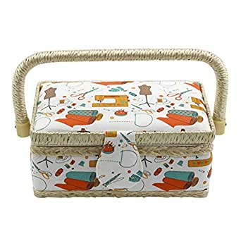 SODIAL Fashion Craft Sewing Tool Needle Thread Basket Fabric Household Sewing Box Organizer with Sewing Accessories Orange Needle Thread