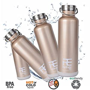 Rehydrate Pro (Champagne 25oz) Double-Insulated Stainless Steel Water Vacuum Bottle Flask -Compatible to Swell Yeti Hydro and Klean Kanteen for Hot or Cold Drinks + Bonus 'Flip N Sip' Sports Cap