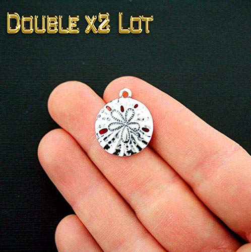 (Double x2 LOT of 20 Sand Dollar Charms Vintage Crafting Pendant Jewelry Making Supplies - DIY for Necklace Bracelet Accessories by CharmingSS)