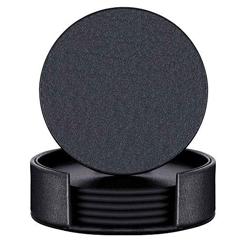 Leather Coasters with Holder Set of 6, Black Coasters for Drinks,Funny Housewarming Gift,Round Cup Mat Pad for Home and Kitchen